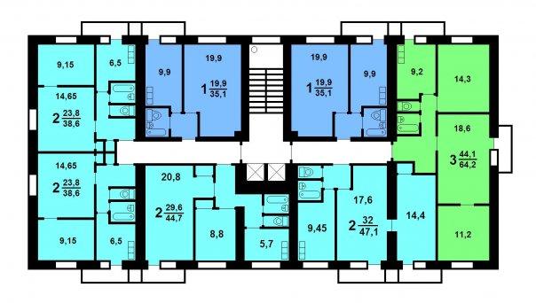 Дом II-18/12 имеет башенную конструкцию, преимущественно дома - одноподъездные, реже встречаются с двумя секциями