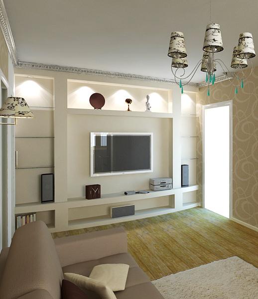 Дизайн стен гипсокартоном в гостиной